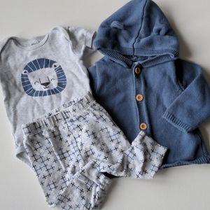 3 Piece Lion Infant Outfit * 9M